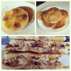 Pancakes with chocolate chip cookie dough, butterfinger, Nutella, and bananas.