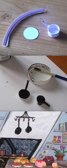 Photo tutorial.  How to make miniature saucepans from card.  I used the same principle as used in the hat box and added florist wire on the handle to hang them by