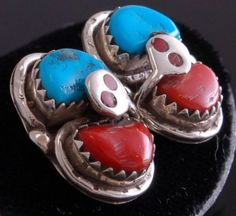 Classic Turquoise & Coral Earring by Effie C CD72I