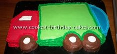 """directions from website: Our son LOVES the garbage truck so we decided to have a trash party for his third birthday!! My husband cut the cake out form one 9x13 square cake pan and two 9"""" circle pans. He pieced it together and iced with store bought icing. It was so much fun creating this garbage truck cake!"""