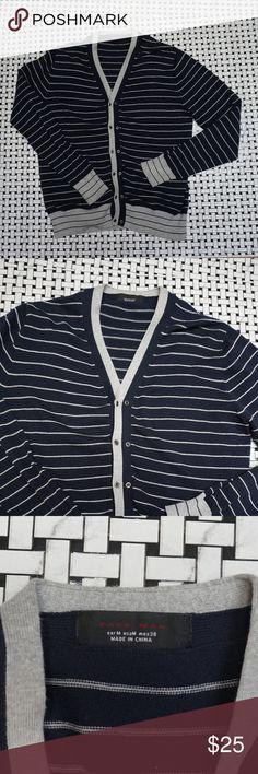 Zara Men Striped Cardigan Zara Men fashion Cardigan dark blue with gray stripes long sleeve double button 80% cotton 20% polyester size M Zara Sweaters Cardigan