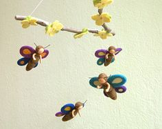 Mini spring fairies mobile felted waldorf by byNaturechild