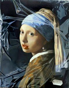 Tjalf Sparnaay - Meisje van Vermeer in plastic (fotorealistisch)