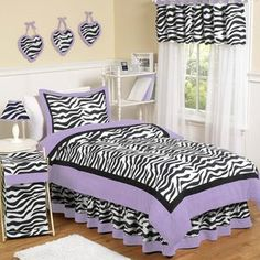 Give your little fashionista the room of her dreams with this fabulous zebra print bedding set from Sweet Jojo Designs. Bold colors and a lightweight, cozy comforter complete the look of this fashion-forward bedding set. Purple Bedding Sets, Turquoise Bedding, Girls Bedding Sets, Teen Bedding, Queen Comforter Sets, Girls Bedroom, Bedroom Ideas, Dream Bedroom, Purple Comforter