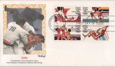 Airmail stamps issued to commemorate the 1984 Olympics, but this cover has a beautiful cachet depicting judo.