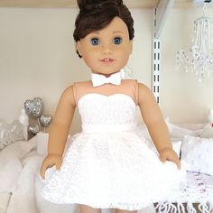 American girl doll white lace skater skirt by SewCuteForever