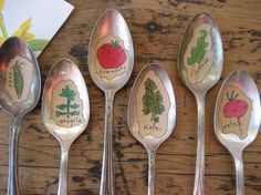 Silver spoons for plant markers