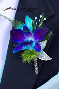 Blue Dendrobium Orchid boutonnière by ~ Southern Edge Design