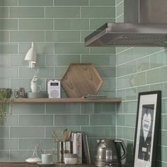Here are the top 5 kitchen backsplash tile ideas for your home including herringbone kitchen tiles, hexagonal, metallic and geometric kitchen tiles Metro Tiles Kitchen, Green Kitchen Walls, Kitchen Wall Tiles Design, Kitchen Flooring, Kitchen Backsplash, Green Tile Backsplash, Green Subway Tile, Green Tiles, Splashback Tiles
