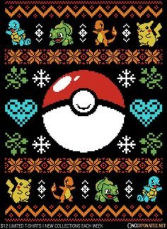 Gotta Stitch 'Em All is available on t-shirts, sweaters, ornaments, and more until 11/23 at OnceUponaTee.net starting at $12! #Pokemon #UglySweater #Christmas