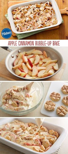 Maybe add alittle bacon. A breakfast made with love! This Apple Cinnamon Bubble-Up Bake has it all with refreshing apples, divine cream cheese and ooey-gooey cinnamon rolls with icing. The whole family can get behind this easy weekend breakfast! Köstliche Desserts, Delicious Desserts, Dessert Recipes, Yummy Food, Easy Apple Desserts, Yummy Snacks, Breakfast Dishes, Breakfast Recipes, Breakfast Fruit