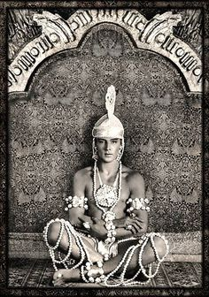 """Rudolph Valentino (Born Rodolfo Alfonso Raffaello Pierre Filibert Guglielmi di Valentina d'Antonguella: May 6, 1895–August 23, 1926) in """"The Young Rajah"""" (1922) was an Italian actor who starred in several well-known silent films including """"The Four Horsemen of the Apocalypse"""" & """"The Sheik"""". An early pop icon & sex symbol of the 1920s, he was known as the """"Latin lover"""" or simply as """"Valentino"""". He died young at age 31, causing mass hysteria among his female fans."""