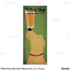 Yellow Dog with a Beer Glass on Its Nose Poster