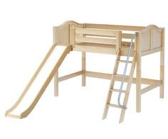 Maxtrix SWEET Mid Loft Bed with Slide Twin Size Natural