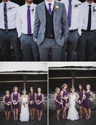 I love the idea of the bridesmaids wearing the same color dresses, but whatever style they choose. And same goes for the groomsmen's ties