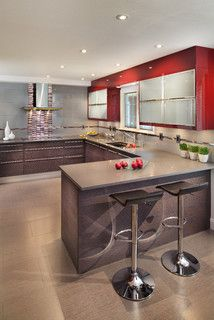 Red Kitchen - contemporary - kitchen - dc metro - by Porcelanosa USA Love the color of the countertop