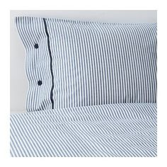 IKEA - NYPONROS, Duvet cover and pillowcase(s), Full/Queen (Double/Queen), , Yarn-dyed; the yarn is dyed before weaving; gives the bedlinens a soft feel.Extra soft and durable quality since the bedlinen is densely woven from fine yarn.Decorative, fabric-covered buttons keep the comforter and pillow in place.