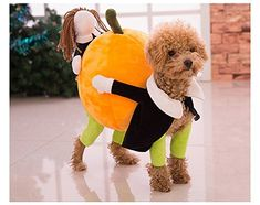 nice Funny Dog Clothes for Small Dogs, Carrying Pumpkin Halloween Christmas Gift Fancy Jumpsuit Puppy Costume, with Cuddly Soft Plush Better to Keep Warm in Winter, for Pet Dogs, Cats.