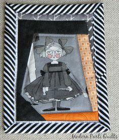 Ghastlies Mini Quilt / Halloween Mug Rug / Ghastlies Mug Rug / MADE TO ORDER