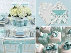 Tiffany blue tablescape and invitations Tiffany Blue Party, Tiffany Theme, Tiffany Wedding, Tiffany And Co, Tiffany Engagement, Blue Party Themes, Blue Table Settings, Edible Wedding Favors, Grad Parties
