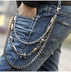 Hip Hop Three Layers Skull Metal Men Waist Chain Men Belts Pants Chain