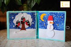 """5. Страничка """"Зима""""  На дереве сидят снегири, учим счет до трёх и учимся одевать птичек на крючки.  Под снегом спрятались зайчик и мишка) Учимся открывать и закрывать молнию.  Собираем снеговика, учим понятия """"большой- маленький"""", сравнивая двух снеговиков. Раскладываем шарики снеговика от большого к маленькому.  Учим понятия День- ночь!"""