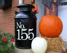 Milk-Canister house number idea....could do last name initial too!