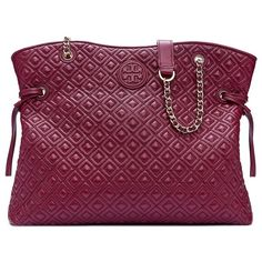 Tory Burch Marion Quilted Slouchy Tote ($650) ❤ liked on Polyvore featuring bags, handbags, tote bags, quilted leather handbags, genuine leather tote, tory burch handbags, purple purse and leather tote