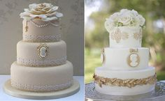 Cameo wedding cakes by Curtis & Co. Cakes (left) and Shane Snider Photography (right)