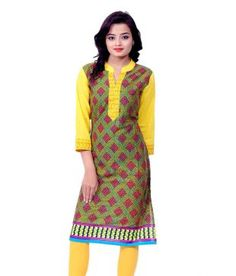 d1048e15a9364 Merry Fashion Yellow Cotton Kurti Price in India - Buy Merry Fashion Yellow  Cotton Kurti Online at Snapdeal