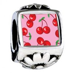 Cartoon Theme Photo Flower Charms Cherry Summer  Fit pandora,trollbeads,chamilia,biagi,soufeel and any customized bracelet/necklaces. #Jewelry #Fashion #Silver# handcraft #DIY #Accessory