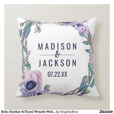 Shop Boho Feather Peach Floral Wedding Monogram Ring Throw Pillow created by GraphicBrat. Engagement Wedding Ring Sets, Halo Diamond Engagement Ring, Diamond Wedding Bands, Monogram Wedding, Floral Wedding, Ring Bearer Pillows, Wedding Supplies, Bridal Rings, Pink Sapphire