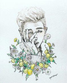 Rapmon rap monster bts kpop fanart flowers