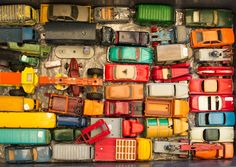 Old toy car collection at Marche aux Puces in Paris.  by Sheila O'Connell