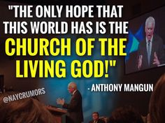 """""""The only hope that this world has is the church of the living God!"""" #BOTT16"""