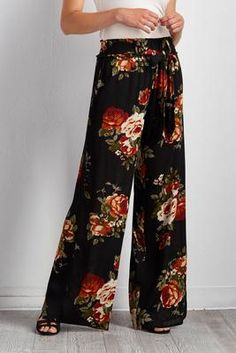 floral belted palazzo pants