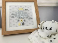 New baby gift Nursery art decor Cloud nursery Hello little