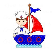 Sailor clip art boat baby boy cute sailor ahoy by CraftbyCarmen