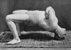 vintage oldtime strongman exercise body bridge arch illustration