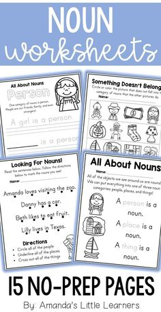 Learn about nouns and the difference between people, places, and things with this fun worksheet set! Students will love doing all of the activities on these worksheets. The levels of challenge are varied so that all students in your classroom can succeed! Skills like coloring, tracing, matching, reading are included. Check out the preview for a sneak peek of each worksheet included.