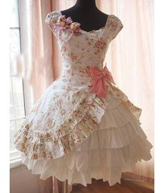 Lolita Dress. pink and cream. pink bow. raised overlay. ruffles. white. princess collar. rose pattern