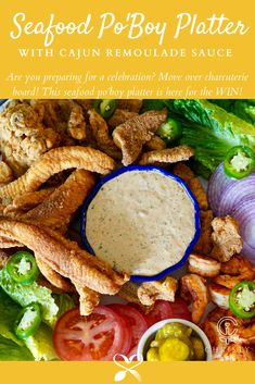 Are you getting ready for a celebration or friends and family gathering? Perfect for tailgate food. Move over charcuterie board! This seafood po'boy platter is here for the WIN! Grilling Recipes, Seafood Recipes, Cooking Recipes, Kitchen Recipes, Cooking Tips, Yummy Appetizers, Appetizer Recipes, Picnic Recipes, Picnic Ideas