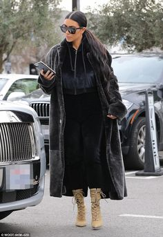 Take it Yeezy in sporty sweatpants like Kim's. Click 'Visit' to buy now. #DailyMail