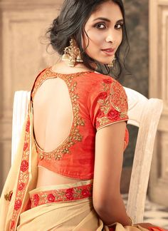 Latest embroidery blouse designs 2019 - New Blouse Designs Simple Blouse Designs, Saree Blouse Neck Designs, Stylish Blouse Design, Bridal Blouse Designs, Blouse Patterns, Bollywood, Embroidered Silk, Cream, Wedding Sarees