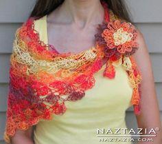 Crochet Lace Shawl Shell Stitch Lacey Shawlette Shells Lacy Vest