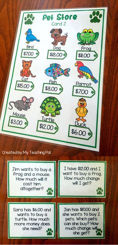 Money Word Problem Task Cards focusing on dollar amounts. Great for Math Centers.