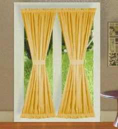 French Door Curtain Panels - for more French Door Curtain Ideas visit www. French Door Curtain Panels, Sidelight Curtains, Home Curtains, Panel Curtains, Curtain Door, Room Divider Doors, Room Doors, Glass Cabinet Doors, Sliding Glass Door