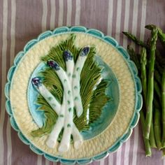 Rare antique French Majolica purple asparagus artichoke serving plate. Made in France in early 1800s, still in pristine condition. Add some whimsical colour to your summer dinner table!