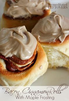Maple Bacon Cinnamon Rolls with Cinnamon Icing - Cinnamon rolls with bacon in the middle of each roll!