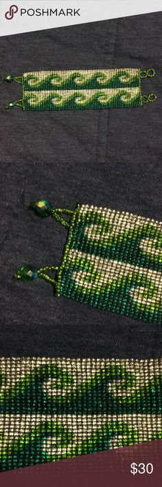 Thick green and silver beaded bracelet! 2 inches thick. Green and silver beads! Jewelry Bracelets
